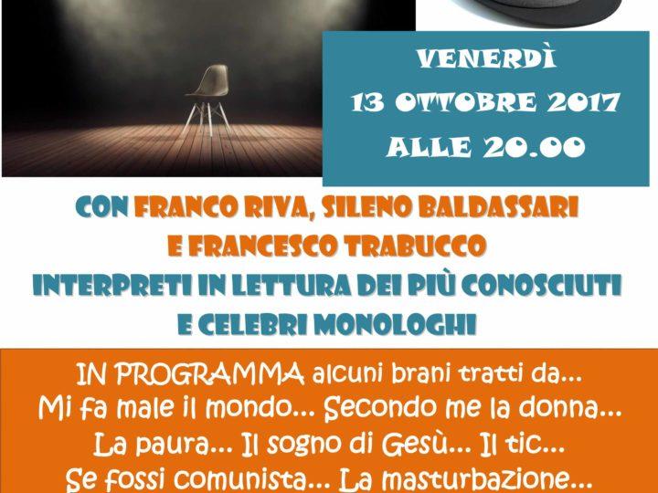 Venerdì 13 ottobre ore 20: TEATRO-CENA in omaggio a Giorgio Gaber